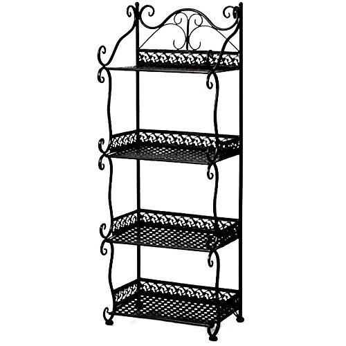 ZXMXY Mehrschichtregale für Bücherregale Schlafzimmer Badezimmer Badezimmer Küche im Flur Abstellborde (weiß, schwarz, bronze) (Farbe : Schwarz, Design : 4Floor) Schlafzimmer Bücherregal