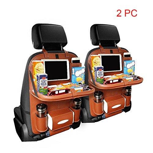 Preisvergleich Produktbild KIPTOP 2 PCS Rücksitz Auto Organisator für Baby-Spaziergänger & Kind-Spielraum-Zusätze, iPad / Tablette-Halter, Nasse Wischtücher Gewebe-Fach Stretchy Speicher-Taschen. Kick-Mat Sitzrückenprotektor - Braun