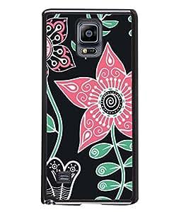 PrintVisa Designer Back Case Cover for Samsung Galaxy Note 4 :: Samsung Galaxy Note 4 N910G :: Samsung Galaxy Note 4 N910F N910K/N910L/N910S N910C N910Fd N910Fq N910H N910G N910U N910W8 (Floral Design And Leaves In Black Background)