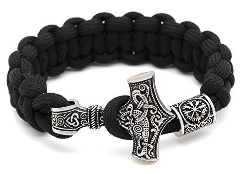 Schwarz Paracord mit Thorshammer Outdoor Rune Knot Amulett Mjolnir Antik Silber - 100% Handarbeit - Viking Compass - 23 cm Umfang