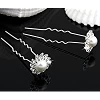 Skyllc® FORCINE FERMACAPELLI FIORI BIANCO PLACCATO ARGENTO CERIMONIA PARTY - Game Party Pin