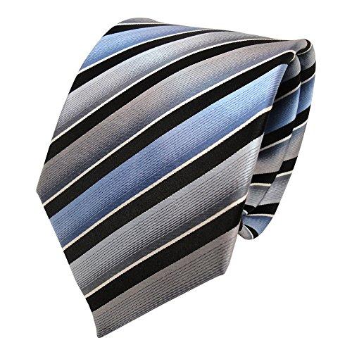 TigerTie Seidenkrawatte grau blau schwarz silber gestreift - Krawatte Seide Tie (Grau Seidenkrawatten Blau)