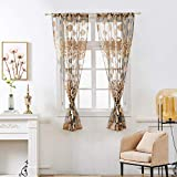 ToDIDAF Short Gardinen Curtains, Crown Flower Curtain Tulle Window Treatment Voile Drape Valance, 1 Panel Fabric, for Home Living Room Bedroom Balcony Decoration, 100 x 130 cm (Kaffee)