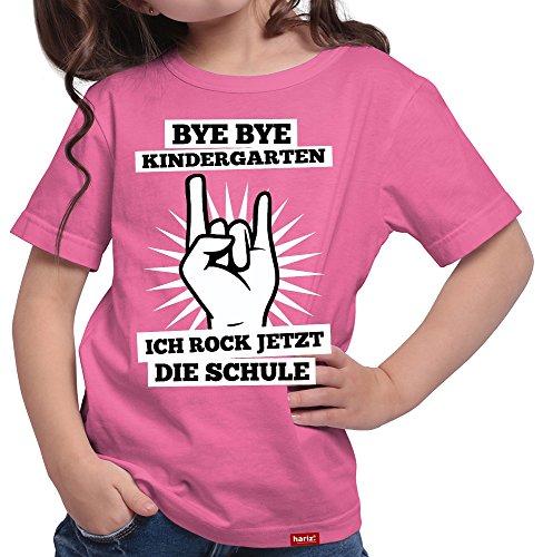 HARIZ  Mädchen T-Shirt Bye Bye Kindergarten Ich Rock Jetzt Die Schule Einschulung Schulanfänger Geschenk Gratis Geschenkkarten Pink 152/12-13 Jahre