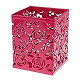 Oyfel Fournitures Bureau Rangement en Metal Rose Style Japonais Creux Rose Rectangle pour Enfant Fille 1 Pcs