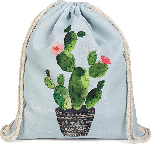 styleBREAKER Turnbeutel mit Kaktus und Blüten Print in Vintage Optik, Rucksack, Sportbeutel, Beutel, Unisex 02012238, Farbe:Hellblau