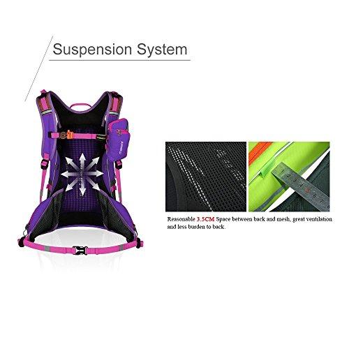 20L Wanderrucksack Nylon Rucksack Outdoor Sports Laptop Rückseite Tasche Violett
