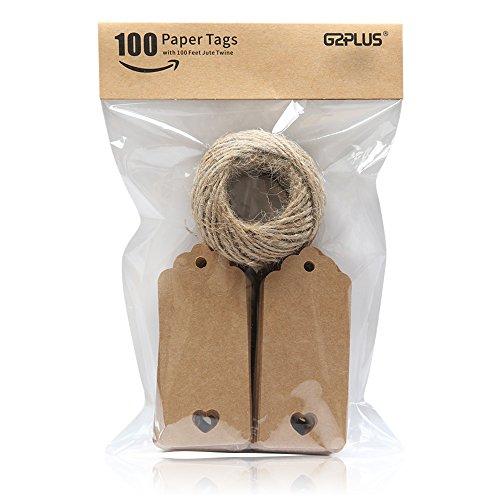 Kraftpapier-Anhänger mit Jute-Schnur | 100 Stück
