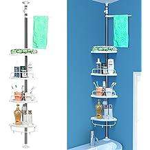 HOMFA Estanterías de baño Estanteria Ducha triángulo Altura ajustable 97-310cm 4 Niveles Gran Capacidad Con barra de toalla Estilo de actualización