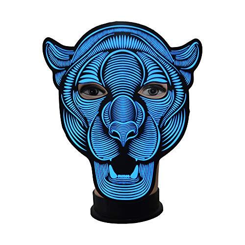 Zhanghaidong Sound Reactive LED Maske Leuchten Musik Maske Scary Coole Licht Maske Für Festival Party Halloween Karnevals Tanz Ball Maskeraden Cosplay DJ Maske