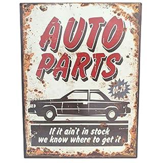 G.W. Metallschild Vintage für Garage und Zuhause, Autoparts if it Ain't in Stock We Know were to get IT, 33 x 25 cm