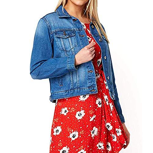 Damen Jeans Jeansjacke - Damen Baumwolle Sommer lässig stilvoll leichte Utility Trucker Blazer - Urlaub Reisen vertuschen zugeschnitten -
