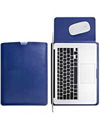 WALNEW Sleek Leather 15 MacBook Pro Retina 15.4-Inch Protective Soft Sleeve Case Cover Bag With Safe Interior...