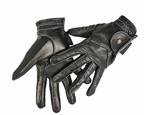 Hkm–guanti da equitazione da donna professional guanti in pelle, donna, 68869100.0670, nero, xs