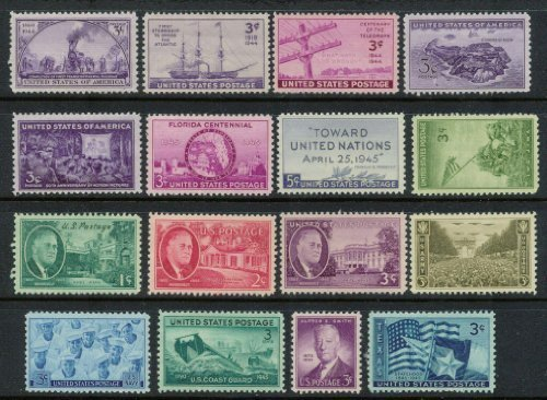 Complete set of US Commemorative Stamps issued in 1944 and 1945 Mint, Never-hinged Army Navy Marines Coast Guard Texas and more by USPS -