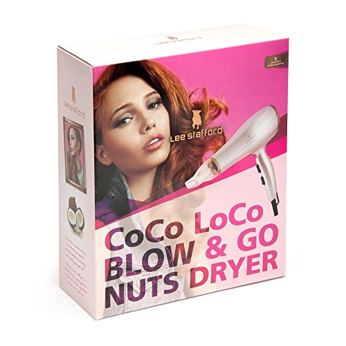 Lee Stafford CoCo LoCo Blow & Go Nuts 2400W Dryer with 3 Heat Settings – Coconut Oil Infusion For Soft, Sleek and Smooth Hair- 60 Day Money Back Guarantee