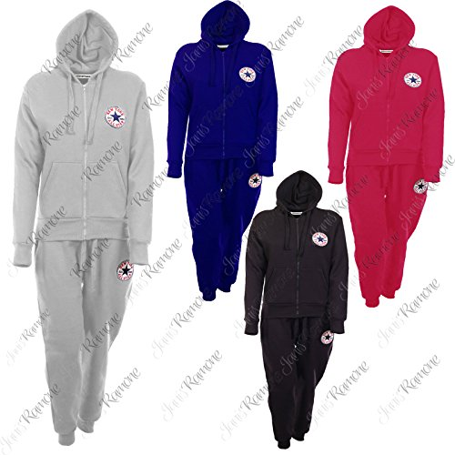 New Womens Ladies All Star New York Full Tracksuit Hooded Top Bottom Jogging Set Bleu Royal