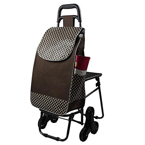 HCC & Trolley Dolly mit Sitz Supermarkt Shopping Lebensmittels Climb die Treppen klappbar Warenkorb, B (Push Cart Für Lebensmittel)