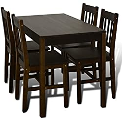 Mesa de comedor con 4 sillas de madera, color marrón