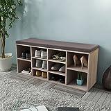 Keinode Schuhschrank aus Holz für Schuhe, Schuhe, Schublade, Schrank mit Sitz, 10 Fächer, Verstellbare Regalböden für Wohnzimmer, Schlafzimmer, Flur, 103 cm x 30 cm x 48 cm, Weiß Wood Color