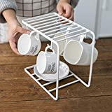 Stilvolle Tasse Holder Organizer Ständer mit 6 Haken, Metall Kaffee Tassen Rack Ständer Küche Storage Rack Schrank Haken zum Aufhängen Tasse Herd Besteck Aufbewahrung Halter für Küche Zähler Schwarz