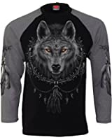 Spiral - Men - WOLF DREAMS - Raglan Contrast Longsleeve Charcoal Black