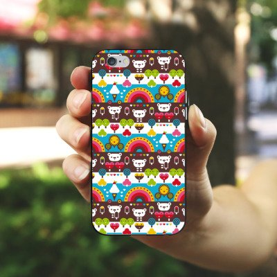 Apple iPhone X Silikon Hülle Case Schutzhülle Regenbogen Herzen Süßigkeiten Silikon Case schwarz / weiß