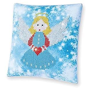 Pracht Creatives Hobby DDP2-018 - Cojín con diseño de ángel, Funda de cojín con Diamantes para Personalizar, Aprox. 18 x 18 cm, Pintar con Diamantes.