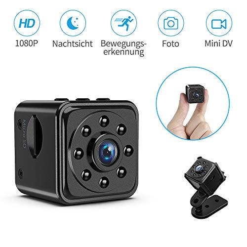 Mini Kamera KinCam Full HD 1080P Kleine Versteckter Spion Nanny Kamera Tragbare Mikro Überwachungskamera Cam mit 140°Weitwinkel, Infrarot Nachtsicht und Bewegungserkennung für Innen/Außen/Baby