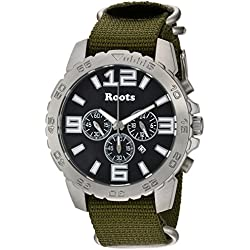 Roots Men's 'Core' Quartz Stainless Steel and Nylon Casual Watch, Color:Green (Model: 1R-LF604BA7G)