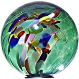 Gartenkugel, Rosenkugel, Dekokugel 'POINT' gruen mit bunten Punkten, Ø 13 cm, mundgeblasen und handgeformtes Glas Unikat (ART GLASS powered by CRISTALICA)