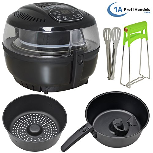 Heißluft-Multifritteuse Heißluftfritteuse ohne Fett Ofen Multicooker Heißluft-Multifritteuse Multibackofen & Suppenautomat & Reiskocher (Schwarz)