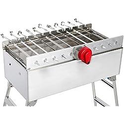 Grillset - Edelstahl Holzkohle-Grill mit Kohlebehälter, Grillaufsatz für Fleisch- oder Gemüse-Spieße mit 220V Motor (Geschwindigkeitsregulierung) und Powerbank für stromlose Nutzung, zusammenklappbar