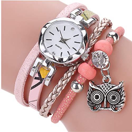 Uhren Damen Armbanduhr Mode Frauen Mädchen Analog Quarz Eule Anhänger Damen Kleid Armband Uhren Mode Uhrenarmband,ABsoar