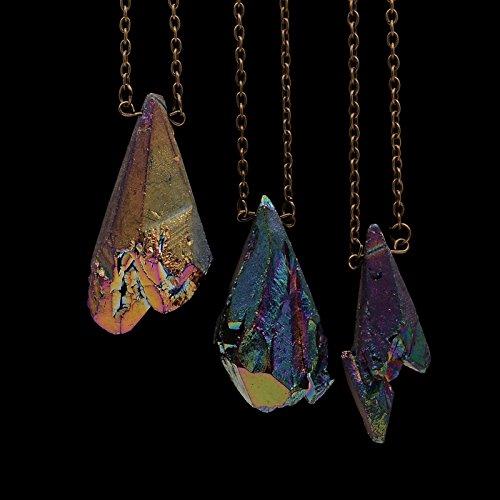 Putny (TM) Rainbow Titanium Aura Raw Natural Stone Irregular Rough Quartz Antique Bronze Chain Rainbow Colored Pendant Necklace