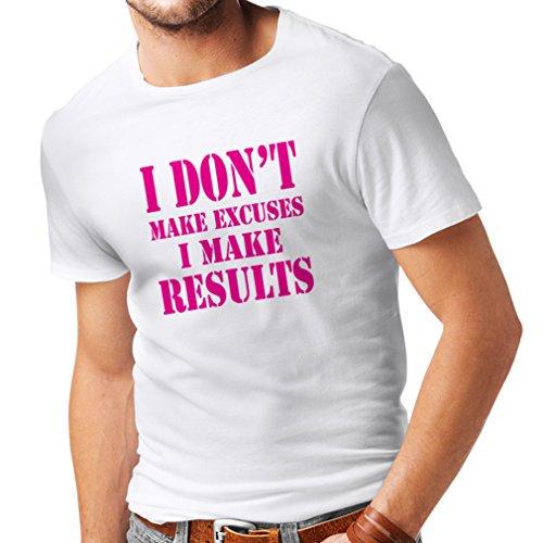 Männer T-Shirt I Make Results - Gewicht verlieren schnelle Zitate und Muskelaufbau Motivationsrede (XXX-Large Weiß Magenta)