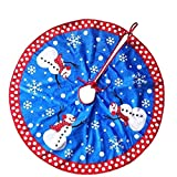 Ruby Stores - 80cm Blue Christmas Snowman Tree Skirt New Year Xmas Tree Carpet Merry Christmas Decorations for Home Outdoor Décor D1Christmas Tree Skirts