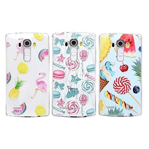 TASoker Handyhülle für LG G4 Hülle 3 Stück Crystal Clear Case Cover Schutzhülle Silikonhülle Transparent TPU Silikon Handytasche Anti-Fall Handyhülle Etui Backcover Schale Handycase Flamingo