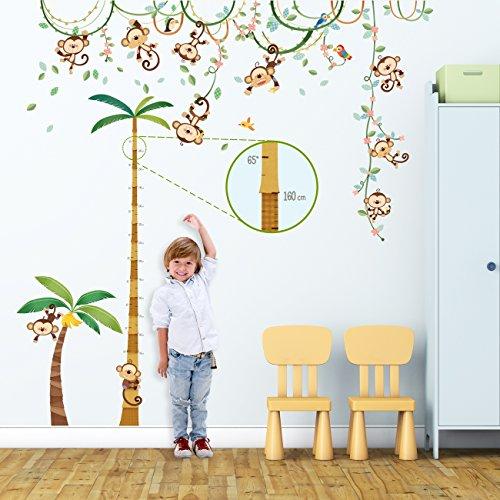 dschungel wandtattoo Decowall DA-1507P1607 Affen Weinrebe Palme Höhentabelle Tiere Wandtattoo Wandsticker Wandaufkleber Wanddeko für Wohnzimmer Schlafzimmer Kinderzimmer