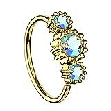 Piersando Universal Piercing Ring für Septum Tragus Helix Ohr Nase Lippe Brust Intim mit 3 Strass Kristallen Gold Vergoldet Rainbow