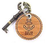 Mr. & Mrs. Panda Rundwelle Schlüsselanhänger Anker - 100% handmade & handbedruckt - Anker, maritim, Meer, Küste, Schiff Schlüsselanhänger Anhänger Anker, maritim, Meer, Küste, Schiff