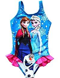 bf506af091073 UK SELLER Girls Swimwear Frozen Swimming Costume Elsa Anna and Olaf with  Frill Swimsuit 3-