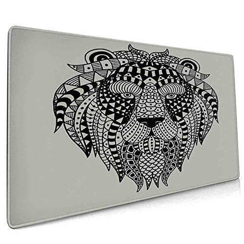 Extended Gaming Mouse Pad Custom,Low-Friction,Smooth Surface for Computers Laptop Animal Graphics Art Elements Lion Geometry Abstract - 15.7' x 29.5' inch