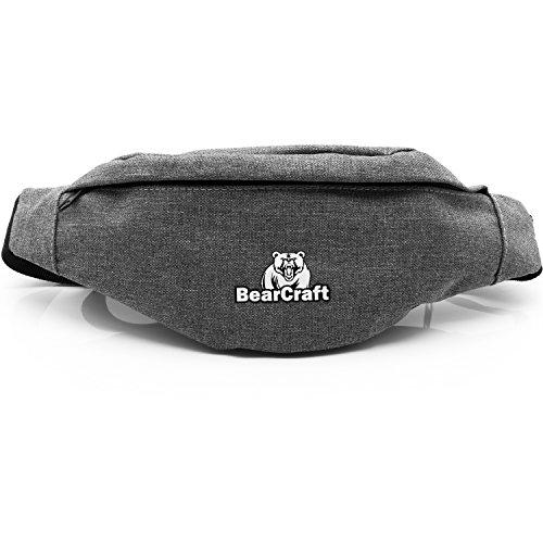 Bear Craft   Riñonera deportivo con 2compartimentos separados   Unisex bolso Riñonera para tiempo libre Deporte Viajes Senderismo Correr