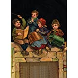 Vintage Toys, diseño con texto en inglés y cuentos de hadas VICTORIAN postales: niños jugando instrumentos musicales caseras, 54864 cm s 250gsm cuadro decorativo brillante A3 de póster