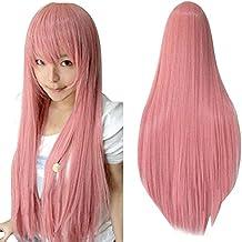 Ularma Peluca de Masquerade, 80CM larga recta pelucas llenas a prueba de calor (rosa
