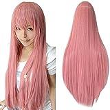Ularma Peluca de Masquerade, 80CM larga recta pelucas llenas a prueba de calor (rosa)
