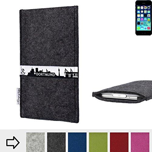 flat.design Filztasche SKYLINE mit Webband Dortmund für Apple iPhone 5s - passgenaue Filz Schutzhülle aus 100% Wollfilz (anthrazit) - Case im Slim fit Design für Apple iPhone 5s anthrazit