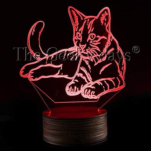 FERZA Home Kitty Cat Lampe de Nuit, Lampe de pépinière de Chat Sweet Multicolore LED lumière de Nuit pour bébé lumière 3D Chaton éclairage décor