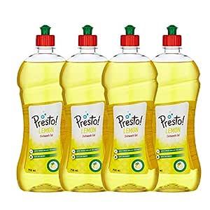 Amazon Brand - Presto! Dish wash Gel - 750 ml (Pack of 4)